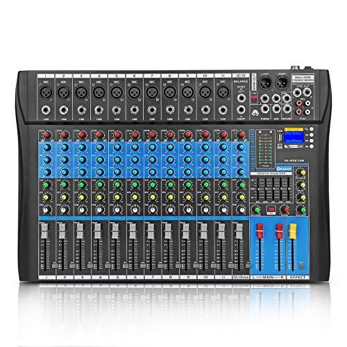 XTUGA ES USB/MP3/Bluetooth Professional DJ Mixer Stage Audio Mixer Built-in Digital Effect Mixer Music Mixer 8/12 Channels Mixer +48Vpower (Black ES1202). Buy it now for 149.99
