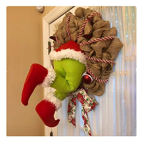 How The Grinch Stole Christmas Burlap Wreath, Funny Christmas Decor, Christmas Ornaments, Ideal Gift for Kids Adults Family Friends (Multicolor, 16 INCHES)