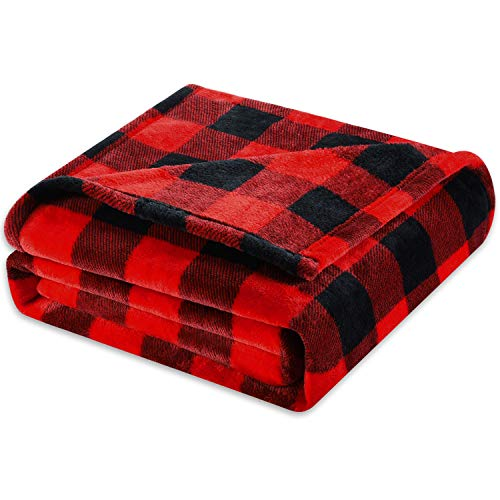 Fomoom Buffalo Plaid Throw Blanket for Couch Bed, Flannel Fleece Red Black Checker Plaid Decorative Throw, Fuzzy, Fluffy, Plush, Soft, Cozy, Warm Blankets (50 x 60 Inches) …