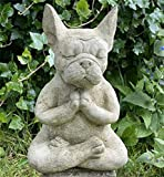 Meditierende Bulldogge Sitzender Französischer Bullenhund im Freien, Meditierende Gartenstatuen, Mysticals Garde-Ornament für Drinnen und Draußen