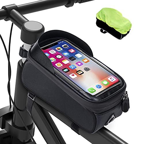 Bolsas de Móvil Bicicleta Impermeable - Bolsa Bicicleta Montaña con Pantalla Táctil de Tubo Superior Delantero con Orificio para Auriculares Teléfono Inteligente debajo de 6,5 Pulgadas, Negro