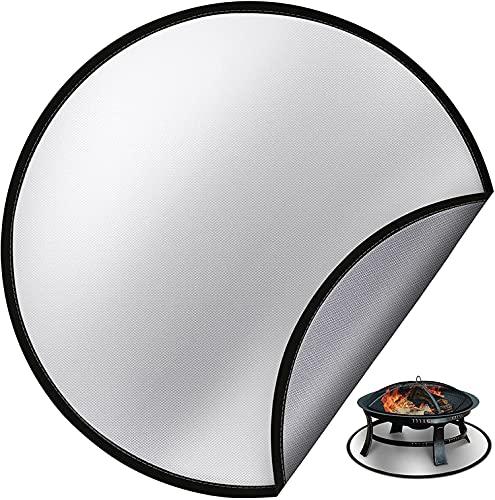 Fire Pit Mat 91cm, Alfombrilla Redonda para Fogatas Resistente al Calor, Alfombrilla Redonda de Fibra de Vidrio, para Fogatas en la Terraza Manta Aislante Termica