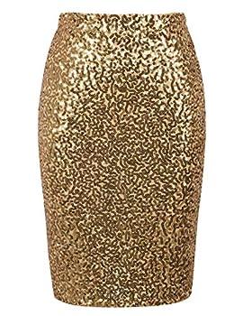PrettyGuide Women s Sequin Skirt High Waist Plus Size Sparkle Pencil Skirt Party Cocktail XXL Gold