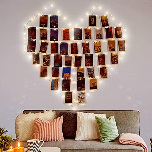LED Fotoclips Lichterkette für Zimmer Deko - wellead 5M 50LED mit 30 Klammern Batteriebetriebene Fotos Lichterkette Bilder Dekoration für Wohnzimmer, Weihnachten, Hochzeiten, Party[Energieklasse A+++]