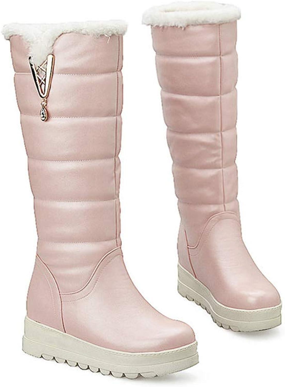 Hoxekle Woman Warm Snow Mid Calf Boots Thick Fur Lady Slip On Round Toe Rhinestone Soft PU Platform Winter shoes
