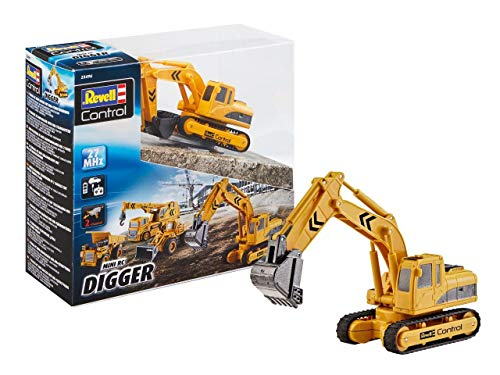 RC Auto kaufen Baufahrzeug Bild: Revell Control 23496 RC Baufahrzeug Schaufelbagger mit Kettenantrieb, 27MHz, Akku ferngesteuertes Auto, gelb-orange, 12 cm*