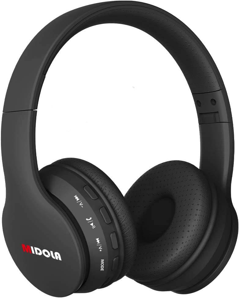 Midola Headphones Wireless Kids Volume Limited 85dB /96dB Bluetooth Over Ear Foldable Stereo Noise Protection Headset with AUX 3.5mm Cord Mic for Boys Girls Cellphone Pad Tablet TV PC Black