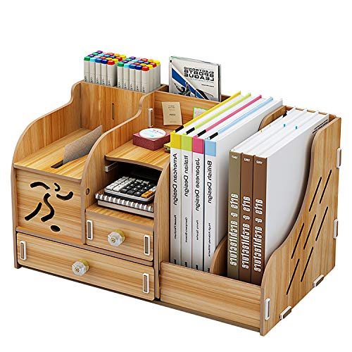Organizador de escritorio de madera, soporte para bolígrafos de oficina, caja de almacenamiento multifuncional, organizador de mesa de oficina para papelería