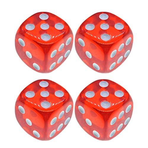 Toyvian 4 Piezas Dados de 18 mm Dados de Color Rojo translúcido de 6 Caras para la enseñanza de Juegos