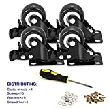 BOSGEOT 2' Caster Wheels, Heavy Duty Casters with Brake Set of 4, Locking Casters with 360 Degree No Noise Polyurethane...