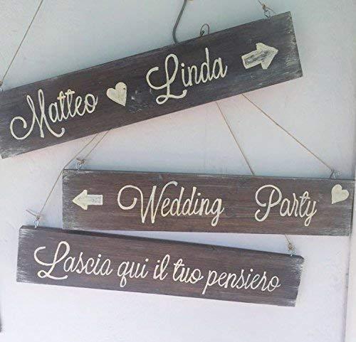 Cartello matrimonio in legno fatto a mano Stile country chic