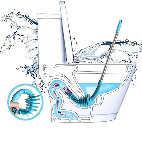 Sturatore per WC in gomma flessibile, a pistone, con manico in acciaio inox, per sifone del wc otturato