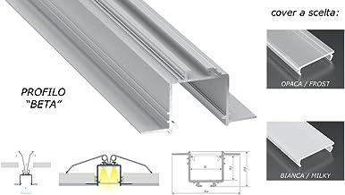 Perfil de aluminio Beta de 2 m empotrado a desplegable de cartón para doble tira de LED cubierta a elegir
