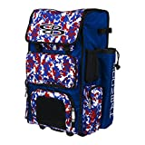 Boombah Rolling Superpack Baseball / Softball Gear Bag - 23-1/2' x 13-1/2' x 9-1/2' - Camo Royal Blue/Red - Telescopic Handle and Holds 4 Bats - Wheeled Version