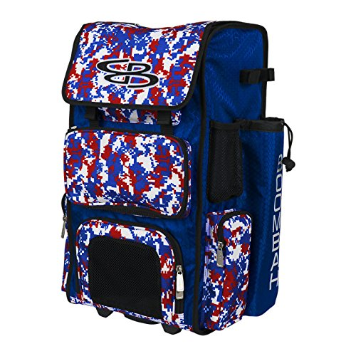 "Boombah Rolling Superpack Baseball / Softball Gear Bag - 23-1/2"" x 13-1/2"" x 9-1/2"" - Camo Royal Blue/Red - Telescopic Handle and Holds 4 Bats - Wheeled Version"