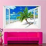 Pegatinas de pared Sandy Palm Forrado Tropical Beach Wall Mural Art Sticker Poster Calcomanía 3d Murales adhesivos pegatinas de pared 60 * 90CM