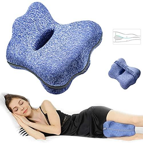 Hipeqia - Almohada de espuma viscoelástica para las rodillas y las piernas, almohada para dormir de lado, almohada ergonómica para apoyar piernas, rodillas y espalda, extraíble y lavable