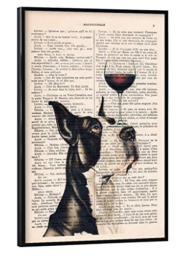 artboxONE Poster mit schwarzem Rahmen 45x30 cm Tiere Dänischer Hund mit Weinglas - Bild Dänischer Hund