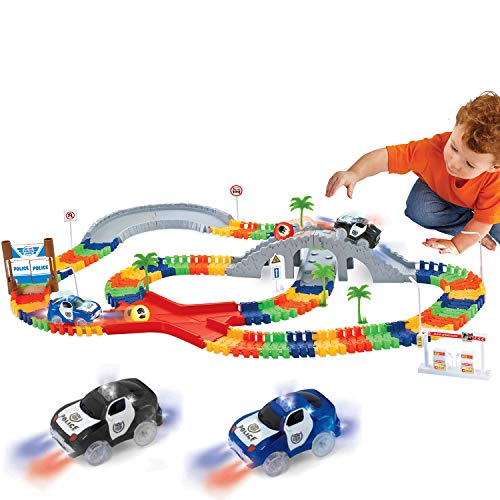 Liberty Imports 142 Pieces Create a Road Super Snap Speedway - Magic Journey Flexible Track Set - Ideal Gift Toy for Toddlers, Kids, Boys, and Girls (Police Chase)