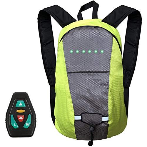 QOUP Mochila de Advertencia con iluminación LED Bicicleta para Montar al Aire Libre Senderismo Mochila 4 señales LED 15L de Capacidad Carga USB, con Control Remoto inalámbrico,Verde