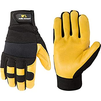 Men s Deerskin Leather Palm Hybrid Work Gloves Large  Wells Lamont 3210  Black