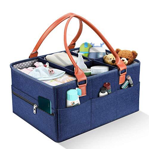 Baby Windel Caddy Organizer Wickeltisch Tragbar Filz Baby Windeltaschen Auto Travel Ablagekorb Windeln Aufbewahrungsbox für Windeln, Baby Tücher,Kid Spielzeug,Baby Dusche Geschenk Korb