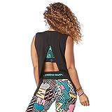 Zumba Camiseta de Entrenamiento Transpirable con Sexy Espalda Abierta para Mujer Mediano B2b Negro