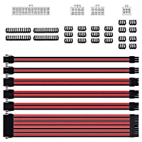 Smraza Sleeved Cable Extension Kit for Power Supply with Extra Sleeved PSU Connectors 24-Pin 8-Pin 6-Pin 4+4-Pin with Cable Combs(11.8 inch/ 30cm) (Red & Black) [並行輸入品]