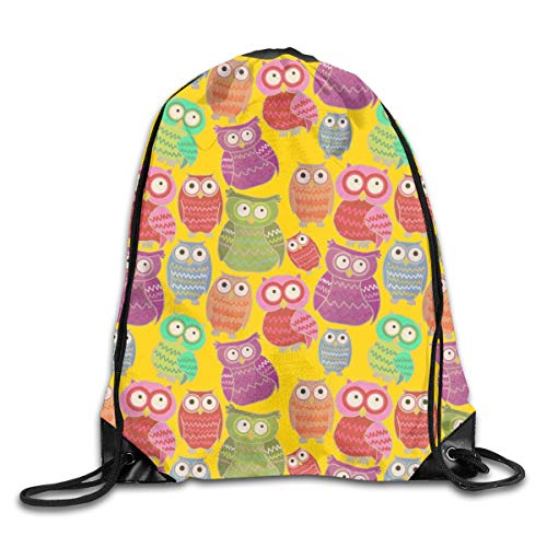 show best Bright Owls Drawstring Gym Bag for Women and Men Polyester Gym Sack String Backpack for Sport Workout, School, Travel, Books 14.17 X 16.9 inch