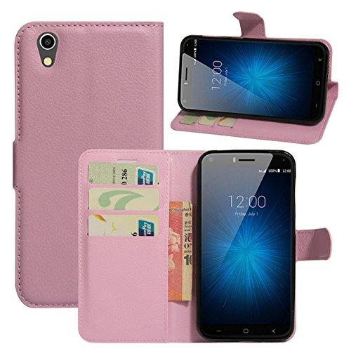 HualuBro UMIDIGI London Hülle, [All Aro& Schutz] Premium PU Leder Leather Wallet Handy Tasche Schutzhülle Hülle Flip Cover mit Karten Slot für UMIDIGI London 5.0 Inch 3G Smartphone (Pink)