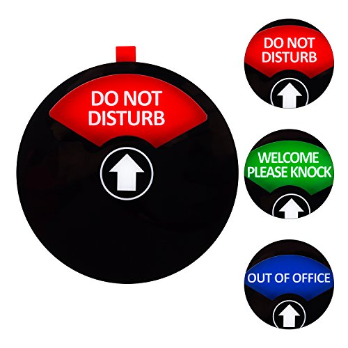 "Kichwit Sichtschutzschild mit der Aufschrift ""Do Not Disturb"", ""Out of Office"", ""Welcome Please Knock"", Schild für Büros, Besprechungszimmer, 12,7 cm, Schwarz"