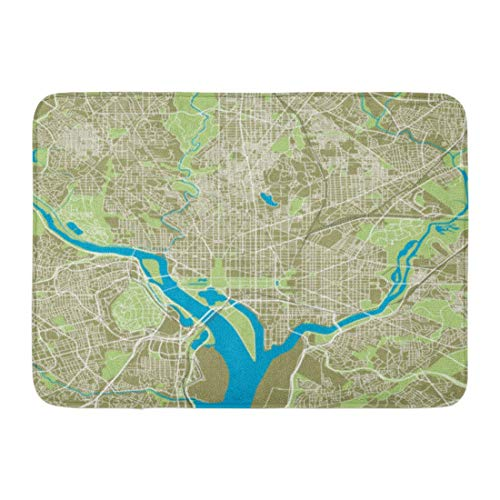 ECNM56B Fußmatten Bad Teppiche Fußmatte Straße Washington DC Karte Ultra detaillierte Straße Autobahn Reise Stadt 15,8