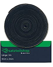 Cinta de sellado de 9 mm (ancho) x 2 mm (profundidad) para montaje de placas de cocina / vitrocerámica | Longitud: 3 m | Repuesto de cinta de montaje Basic