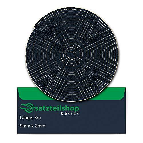 Dichtband/Dichtung 9mm(B) x 2mm(D) zur Montage von Kochfeldern/Ceranfeld | Länge: 3m | ersatzteilshop basics Montageband