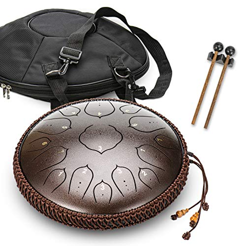 Hang Drum 15 Notes 35 cm Stahl Zunge Drum – Stimmts Percussion Instrument – Handpan Drum Sets Mit Tasche, Musikbuch, Mallets, Fingerpicks,Brown