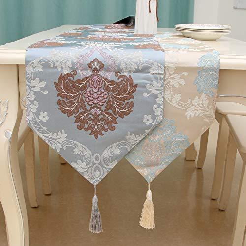 YIJTE Tabla Runne Alta precisión Jacquard Borla Mantel Bandera de Mesa de Estilo Chino Cubierta de Tela Mesa de Centro TV Adecuado para hogar Moderno. (Size : 32 * 240cm)