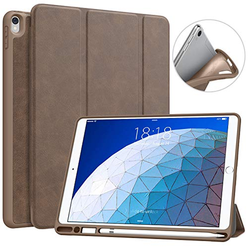 MoKo Case Fit New iPad Air (3rd Generation) 10.5' 2019/iPad Pro 10.5 2017 with Pencil Holder Slim Lightweight Smart Shell Stand Cover Case with Auto Wake/Sleep - Brown