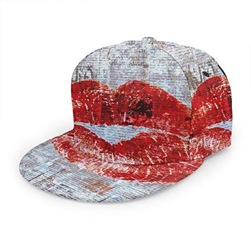 Flat Bill Baseball-Kappe, roter Lippenstift, 3D, flache Krempe, verstellbare Snapback-Kappen, klassischer Sport, Hip-Hop-Hut für Männer und Frauen