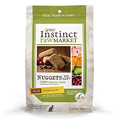 Instinct Freeze Dried Raw Market Grain Free Chicken Recipe Nuggets for Cats by Nature's Variety, 12 oz. Bag