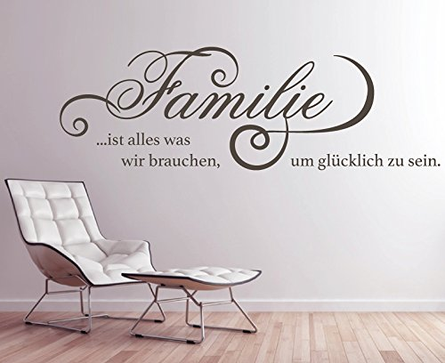 tjapalo® GR-pkm260 Wandtattoo Wohnzimmer Wandsticker Wandaufkleber Familie ist alles was wir brauchen um glücklich zu sein (Breite 140 x Höhe 45 cm)