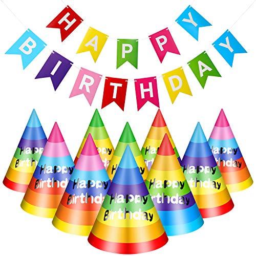 20 Pieces Rainbow Birthday Party Hats