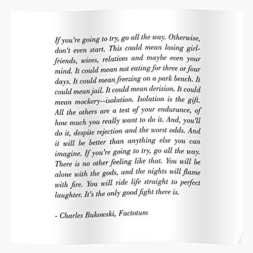 zaham Happy Charles Go Bukowski It Quote Time Let Factotum Pink Typography Geschenk für Wohnkultur Wandkunst drucken Poster 11.7 x 16.5 inch