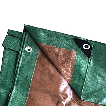 Moose Supply 15 Foot x 15 Foot Heavy Duty Waterproof Tarp   Green and Brown   Multi-Purpose UV Resistant Reversible Tarpaulin Cover for Tents Landscaping Boats RVs and Weather Protection