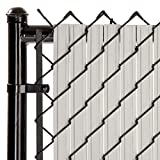 SoliTube Slat Privacy Inserts for Chain-Link Fence, Double-Wall Vertical Bottom-Locking Slats with Wings for 4' Fence Height (Gray)