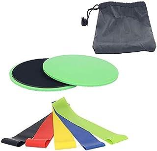 Gooder Yoga Equipment 5PCS/Set Yoga Resistance Bands + 2 Core Exercise Sliders Gliding Disc Set Strength Training Rubber B...