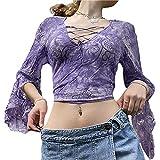 Y2K - Camiseta de manga larga para mujer con corte ajustado para niñas de los años 90, 2 piezas, ropa sexy para fiestas, K, M
