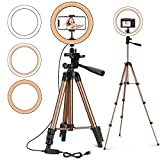 10' Selfie Ring Light with Stand and Phone Holder, PEYOU LED Ring Light Tripod with Remote Shutter, Camera Tripod Perfect for Live Stream/Makeup/TiKTok, Compatible with iPhone Camera, Champagne