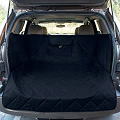 VEHICLE FIT: Fits almost Mid Size SUVs. Fits cargo area that is about: 46 inches Long x 48 inches Wide Excluding side flaps) CONVENIENT: Large pocket for toys, leashes, bags or anything your pet may need! COMFORTABLE: Quilted padded top paired with u...