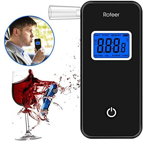 Soulcker Alkoholtester, Digitaler LCD Bildschirm Alkohol Tester Promilletester Tragbar Alkoholmessgerät mit 5 Mundstücken für Auto, Spass, Party; Akustischer Alarm, Anzeige der Aktuellen Temperatur