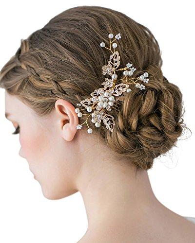 SWEETV Haarkamm Hochzeit Kristall Clip Perle Haarnadel Strass Braut Haarschmuck für die Braut Brautjungfer, Gold